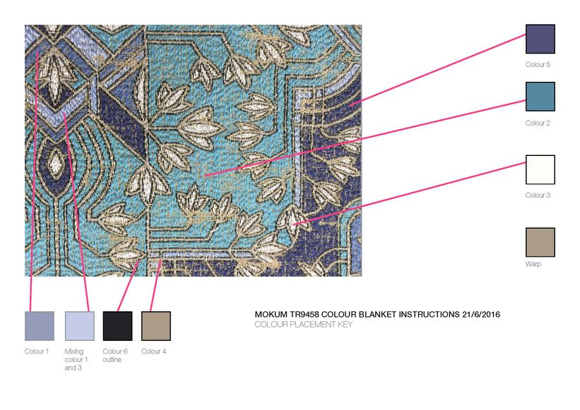 The colour key for yarn placement used during Majorelle colour development.