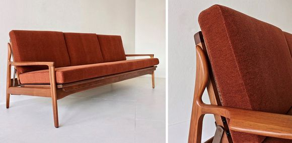 Fler Narvik lounge in Alpaca Velvet Burnt Orange