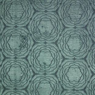 Photo of the fabric Water Lily Lagoon 401 swatch by Mokum. Use for Upholstery Heavy Duty, Accessory. Style of Pattern, Velvet