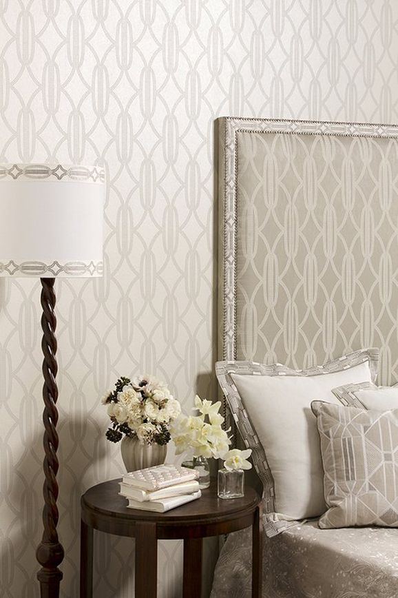 Photo of the fabric Charleston Pearls Ribbon Diamond in situ by Catherine Martin by Mokum. Use for Trim. Style of Decorative, Pattern