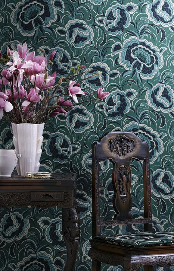 Photo of the fabric Splendour A Wallpaper Marcasite 897 in situ by Catherine Martin by Mokum. Use for Wall Covering. Style of Floral And Botannical, Pattern