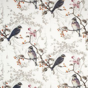 Photo of the fabric Wonderland Opal swatch by James Dunlop. Use for Drapery, Upholstery Light Duty, Accessory, Top of Bed. Style of Animals And Birds, Decorative, Pattern, Print