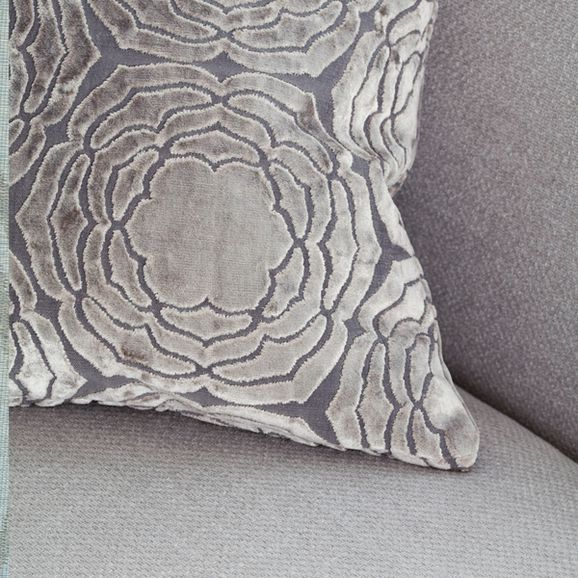 Photo of the fabric Water Lily Quartz in situ by Mokum. Use for Upholstery Heavy Duty, Accessory. Style of Pattern, Velvet