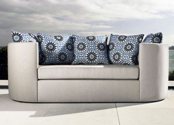 Photo of the fabric Zellij Cinnamon in situ by Mokum. Use for Upholstery Heavy Duty, Accessory. Style of Plain