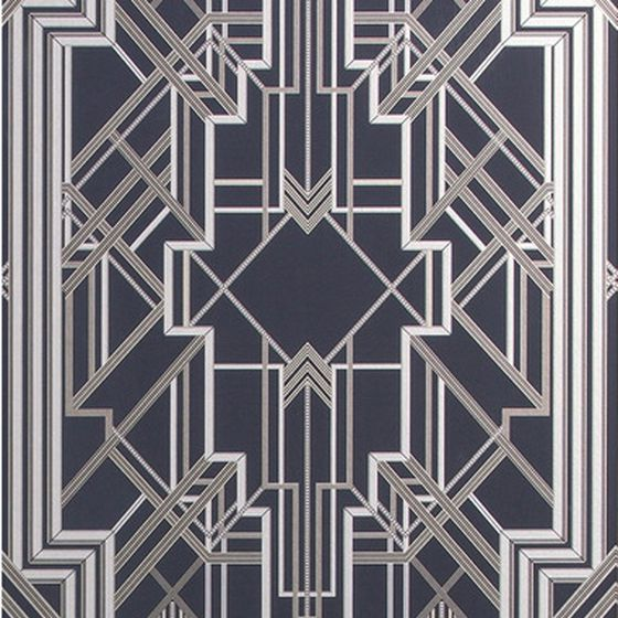 Photo of the fabric Metropolis Wallpaper Marcasite swatch by Catherine Martin by Mokum. Use for Wall Covering. Style of Decorative, Pattern
