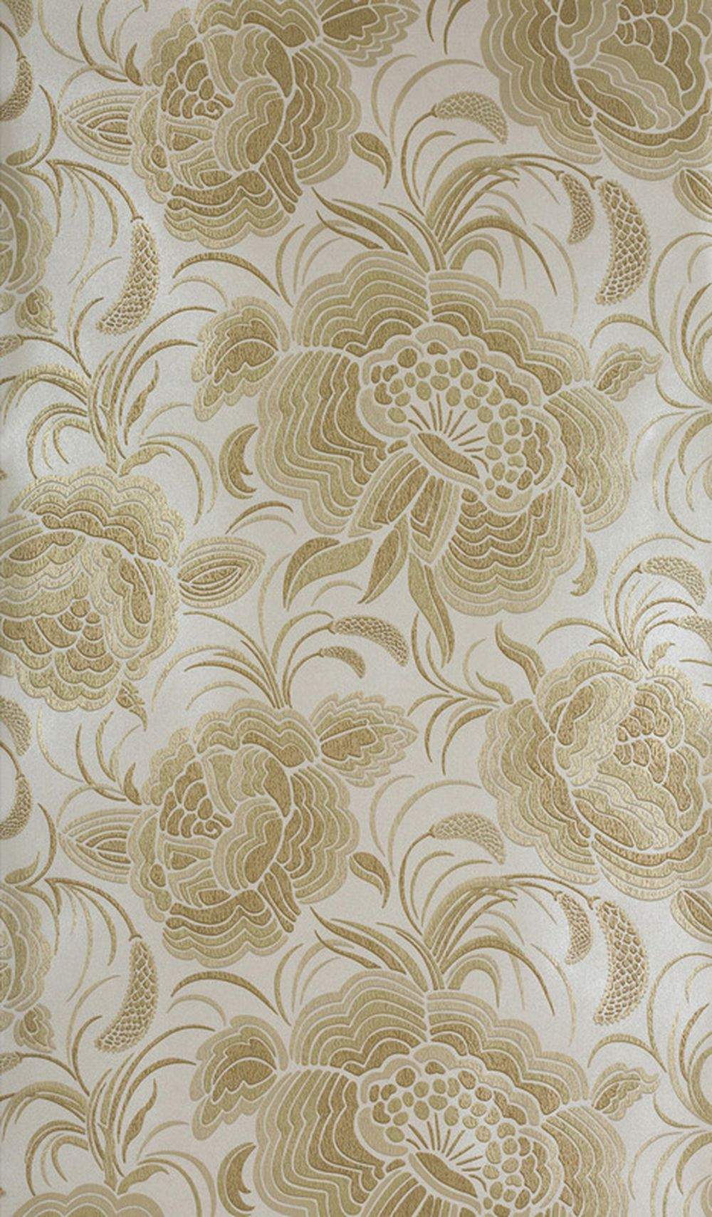 Photo of the fabric Splendour A Wallpaper Champagne 802 swatch by Catherine Martin by Mokum. Use for Wall Covering. Style of Floral And Botannical, Pattern