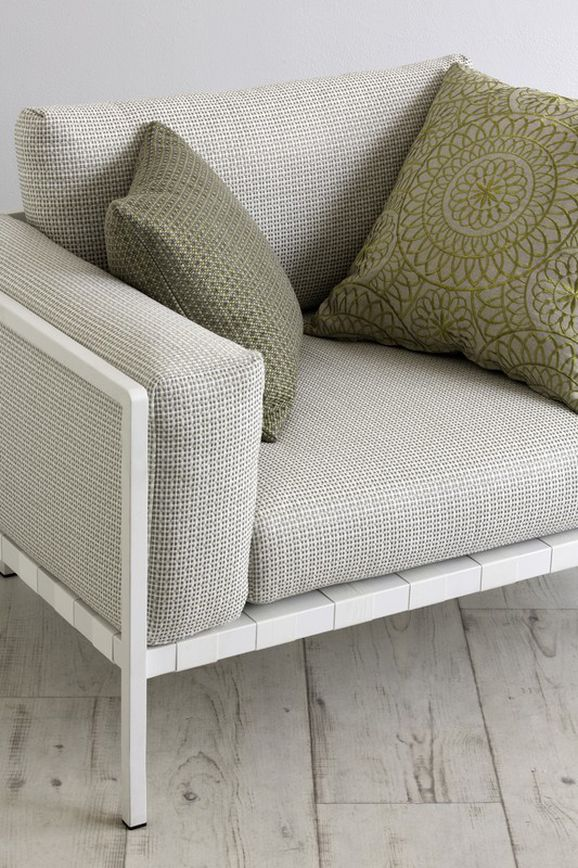 Photo of the fabric Esplanade Pumice in situ by Mokum. Use for Upholstery Heavy Duty, Accessory. Style of Plain, Texture