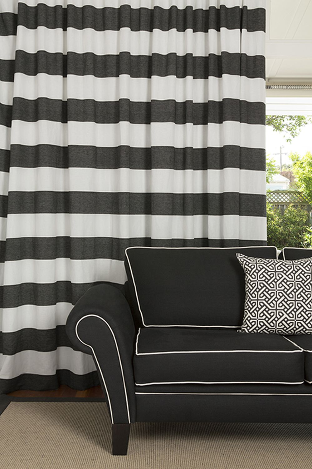 Photo of the fabric Long Beach * Sand in situ by James Dunlop. Use for Drapery Sheer. Style of Pattern, Sheer, Stripe