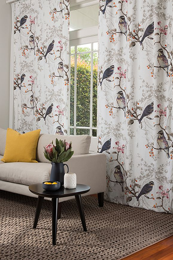 Photo of the fabric Wonderland Opal in situ by James Dunlop. Use for Drapery, Upholstery Light Duty, Accessory, Top of Bed. Style of Animals And Birds, Decorative, Pattern, Print