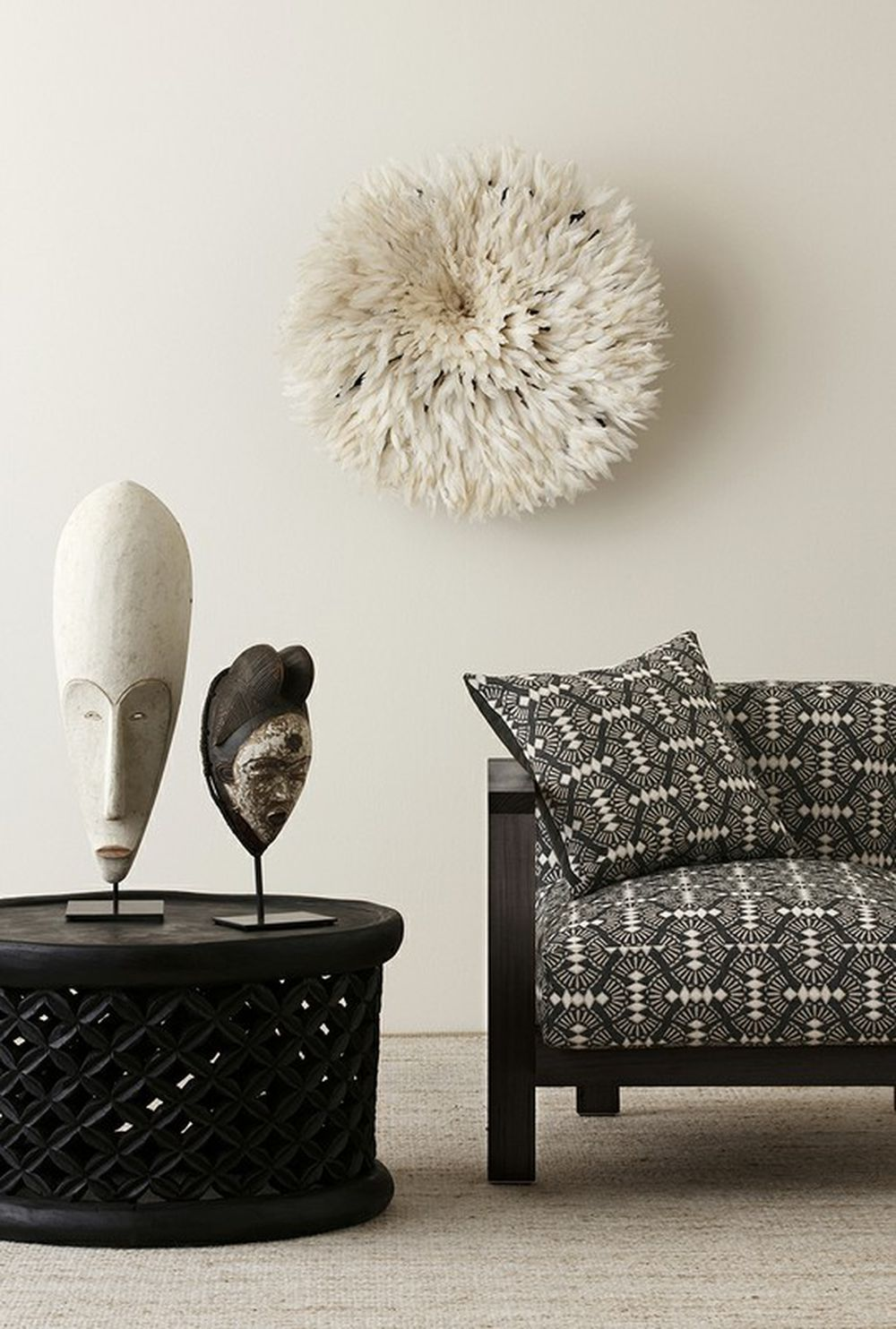 Photo of the fabric Fan Ebony in situ by Mokum. Use for Upholstery Heavy Duty, Accessory. Style of Geometric, Pattern, Texture