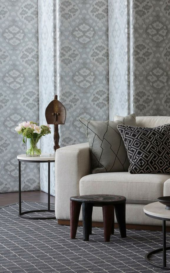 Photo of the fabric Timbuktu Copper in situ by Mokum. Use for Curtains, Accessory. Style of Abstract, Geometric, Pattern