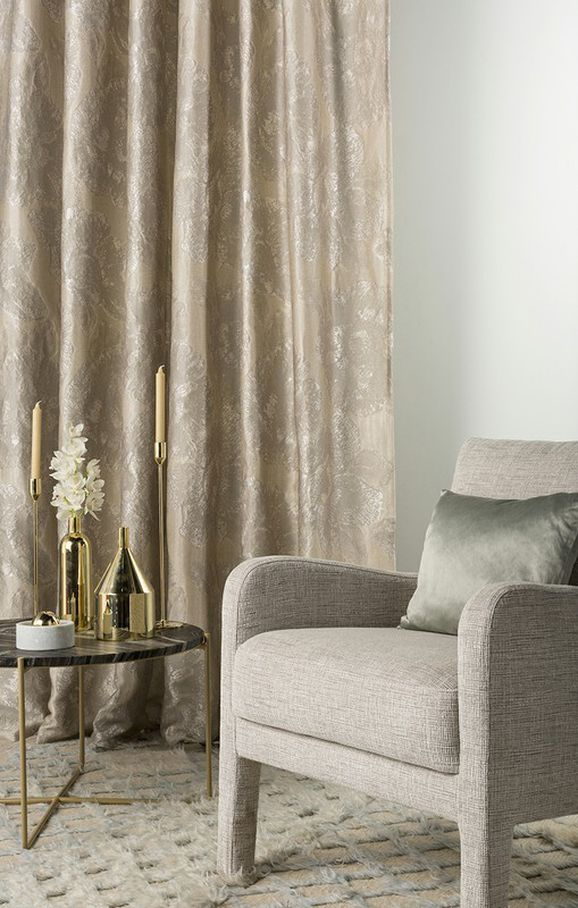 Photo of the fabric Caledonia Silver in situ by Mokum. Use for Curtains, Accessory. Style of Abstract, Decorative, Floral And Botannical, Pattern