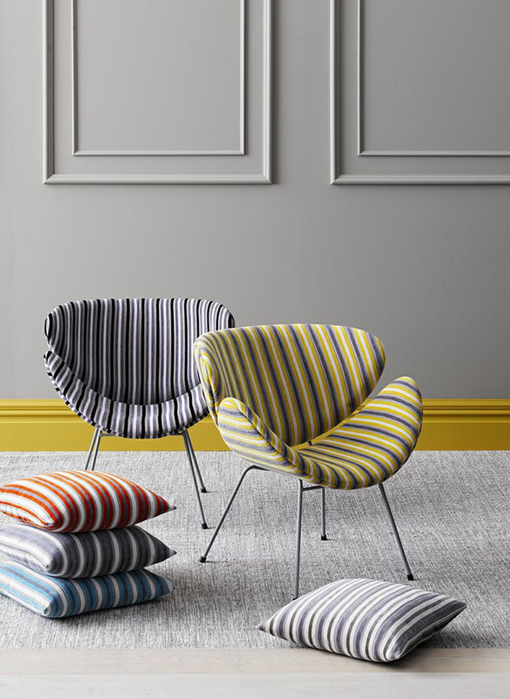 Photo of the fabric Tapa Stripe Aluminium in situ by James Dunlop. Use for Upholstery Heavy Duty, Accessory. Style of Pattern, Stripe