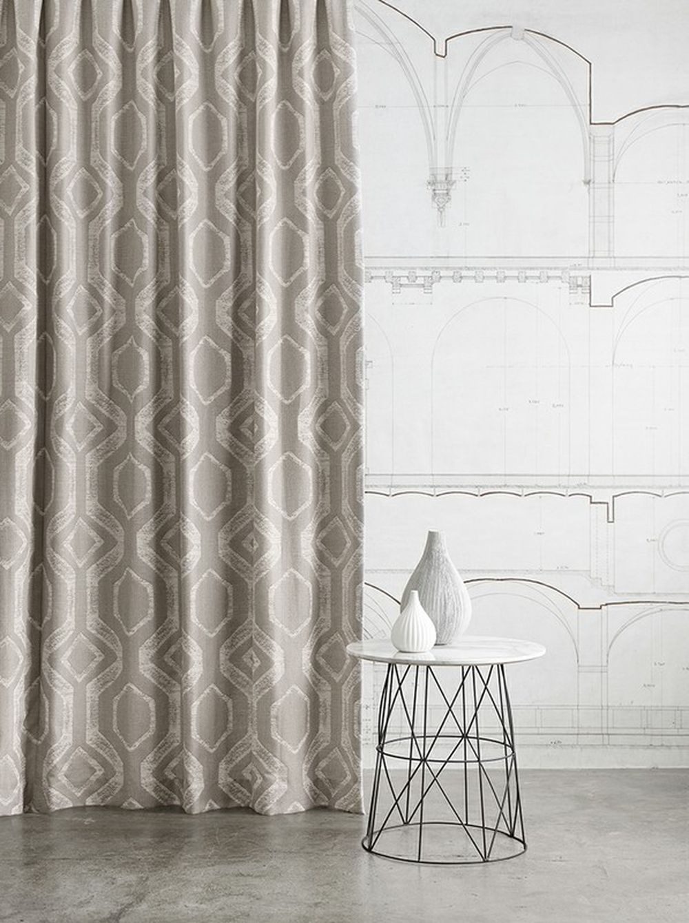 Photo of the fabric Colombo Lunar in situ by Pegasus. Use for Drapery, Accessory. Style of Geometric, Pattern