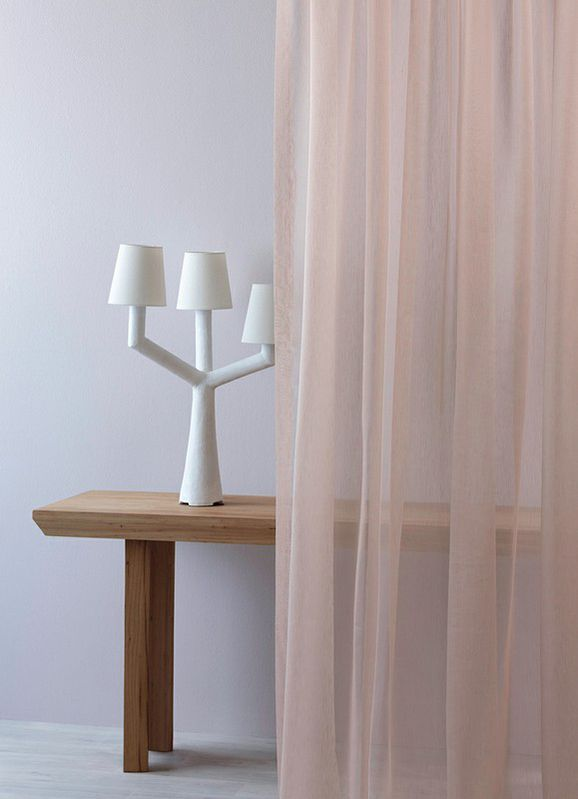Photo of the fabric Aurora * Blush in situ by Mokum. Use for Drapery Sheer. Style of Plain, Sheer