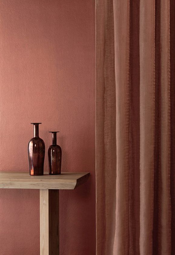 Photo of the fabric Luna * Dusk in situ by Mokum. Use for Drapery. Style of Plain, Texture