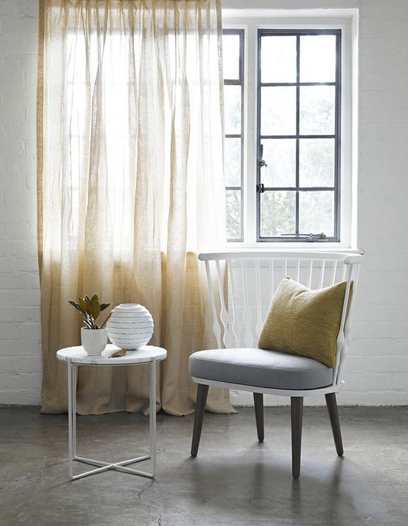 Photo of the fabric Laconia Air Dijon in situ by James Dunlop. Use for Sheer Curtains. Style of Plain, Sheer
