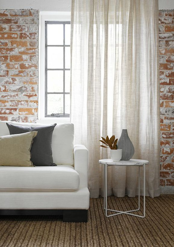 Photo of the fabric Linden * Ivory in situ by Pegasus. Use for Sheer Curtains. Style of Plain, Sheer