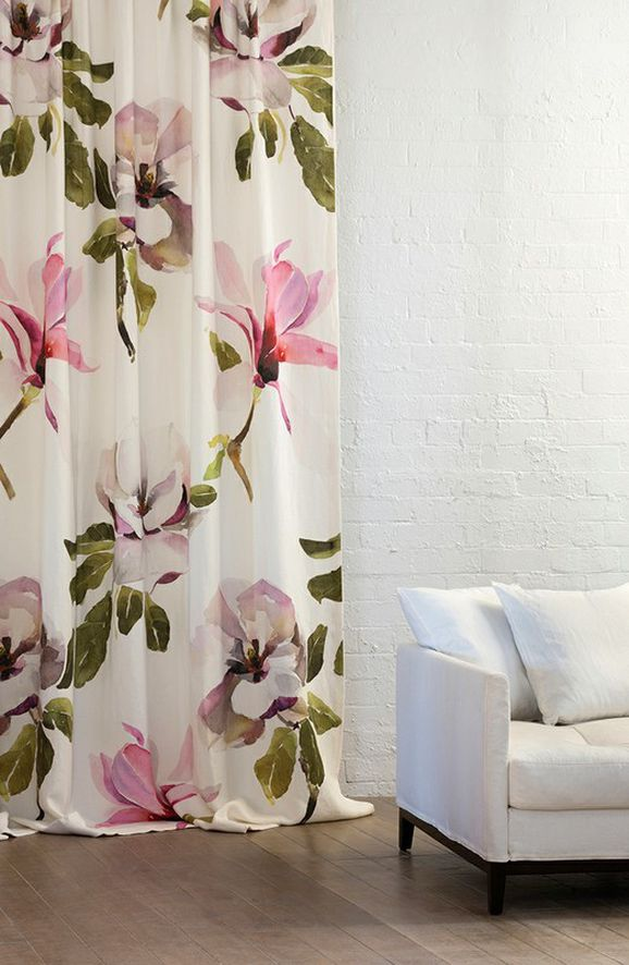 Photo of the fabric Magnolia Magenta in situ by Mokum. Use for Drapery, Upholstery Light Duty, Accessory, Top of Bed. Style of Decorative, Floral And Botannical, Pattern, Print