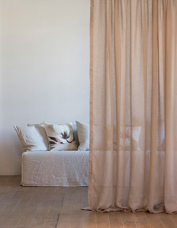 Photo of the fabric Lino Smoky Quartz in situ by Mokum. Use for Sheer Curtains. Style of Plain, Sheer, Texture