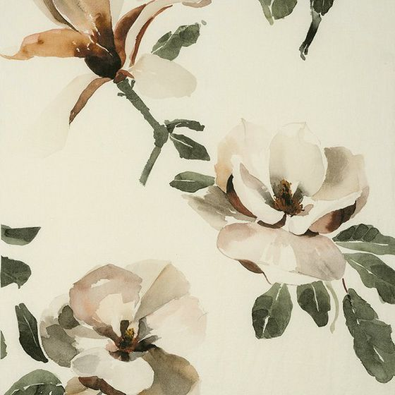 Photo of the fabric Magnolia Copper swatch by Mokum. Use for Curtains, Upholstery Light Duty, Accessory, Top of Bed. Style of Decorative, Floral And Botannical, Pattern, Print