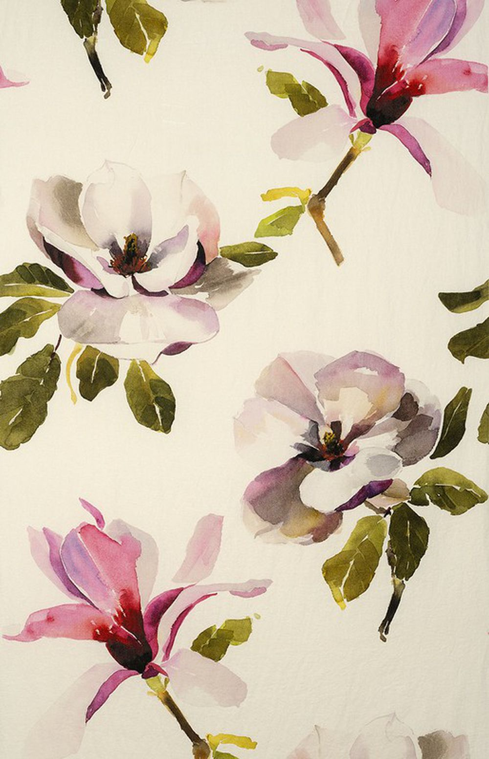 Photo of the fabric Magnolia Magenta swatch by Mokum. Use for Drapery, Upholstery Light Duty, Accessory, Top of Bed. Style of Decorative, Floral And Botannical, Pattern, Print