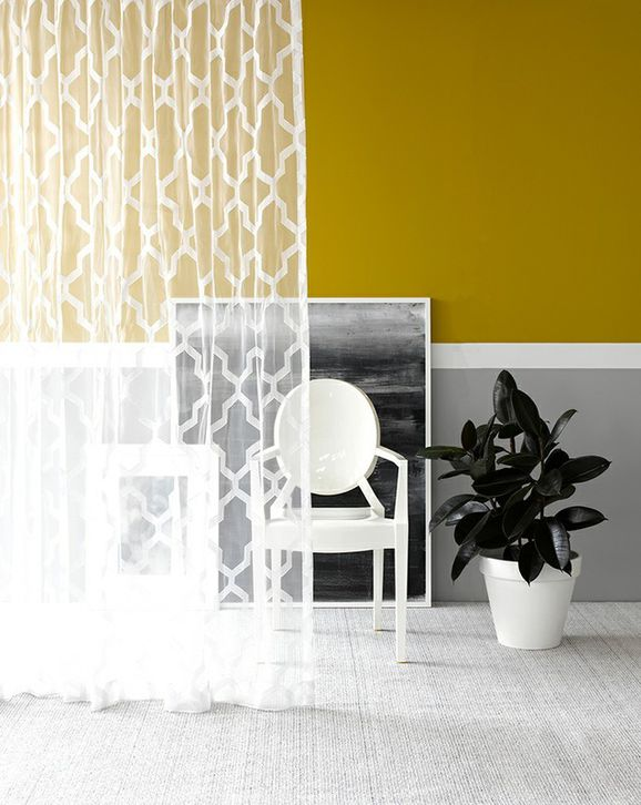 Photo of the fabric Polar * Obsidian in situ by James Dunlop. Use for Sheer Curtains. Style of Geometric, Pattern, Sheer
