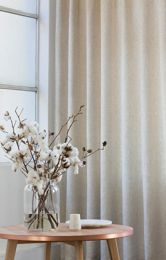 Photo of the fabric Grassland * Ecru in situ by Mokum. Use for Curtains. Style of Plain, Texture