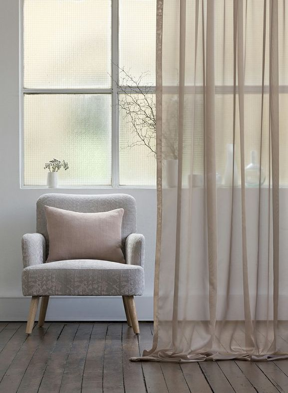 Photo of the fabric Liquidity * Platinum in situ by Mokum. Use for Drapery. Style of Plain