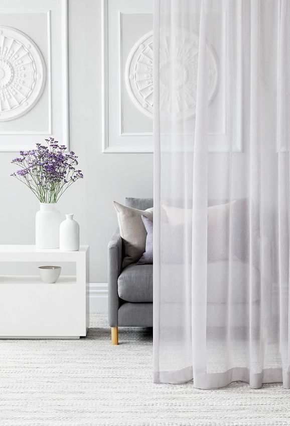Photo of the fabric Ascend * Blanc in situ by Pegasus. Use for Drapery Sheer. Style of Plain, Sheer