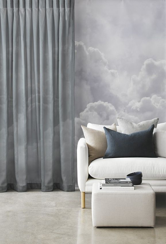Photo of the fabric Glaze * Night in situ by James Dunlop Essentials. Use for Sheer Curtains. Style of Plain, Sheer