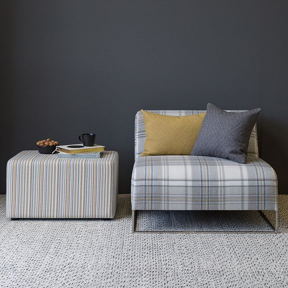 Photo of the fabric Rowan Auburn in situ by James Dunlop Indent. Use for Curtains, Upholstery Heavy Duty, Accessory, Top of Bed. Style of Pattern, Stripe