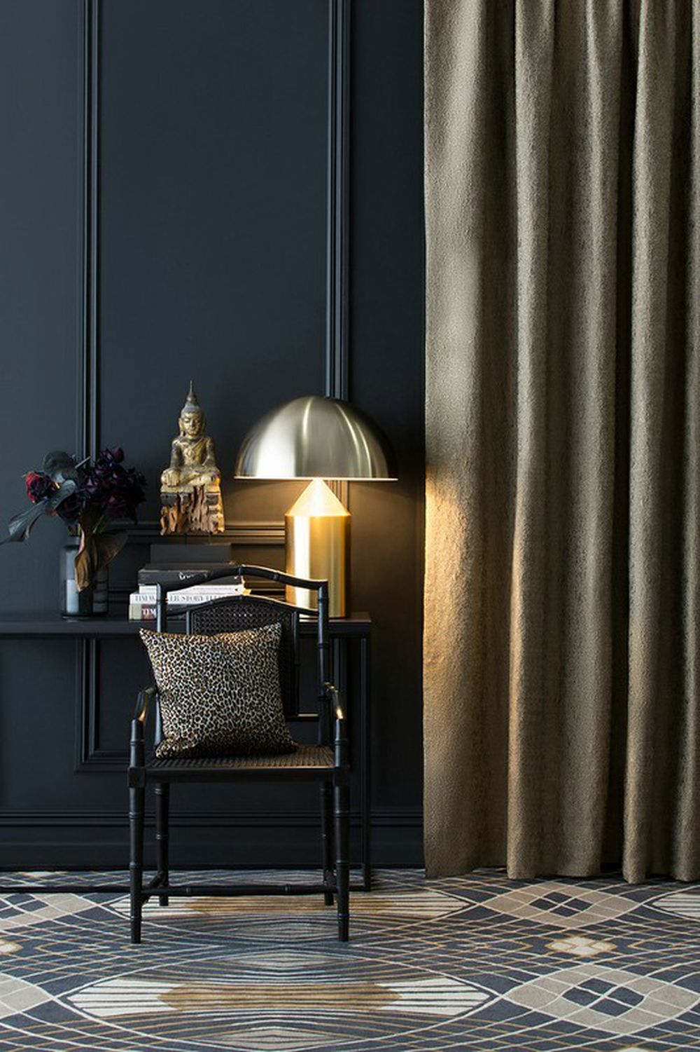 Photo of the fabric Metallique White Gold in situ by Catherine Martin by Mokum. Use for Curtains. Style of Plain, Texture