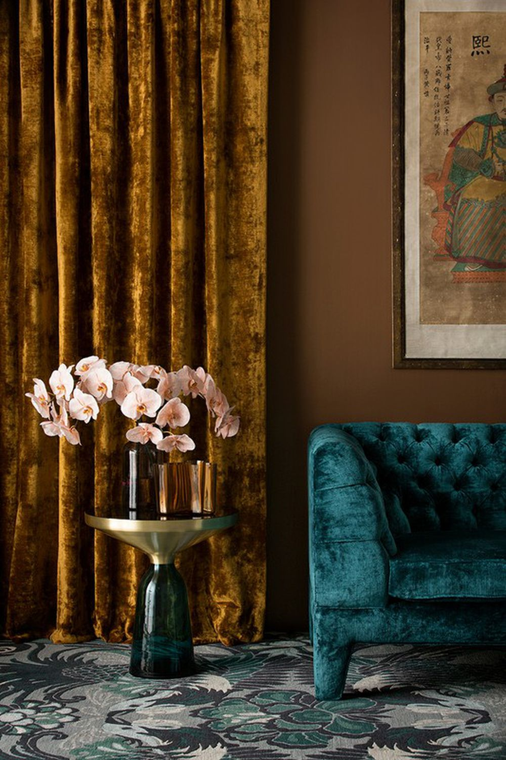 Photo of the fabric Bespoke Gilt in situ by Catherine Martin by Mokum. Use for Drapery, Upholstery Heavy Duty, Accessory. Style of Plain, Velvet