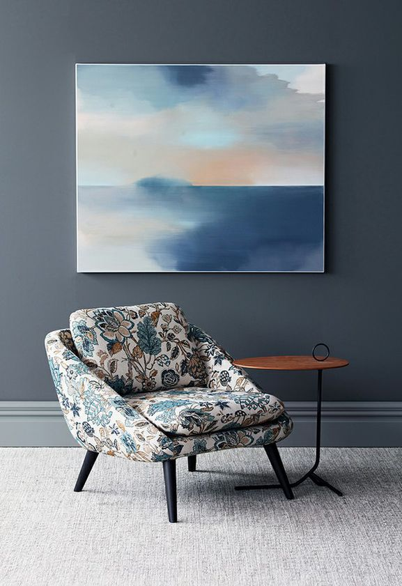 Photo of the fabric St Clair Indigo in situ by James Dunlop. Use for Drapery, Upholstery Medium Duty, Accessory. Style of Decorative, Pattern, Print