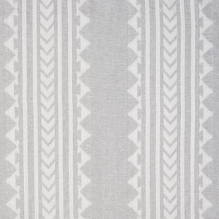 Photo of the fabric Aleuj Ivory swatch by Catherine Martin by Mokum. Use for Curtains. Style of Decorative, Geometric, Pattern, Stripe