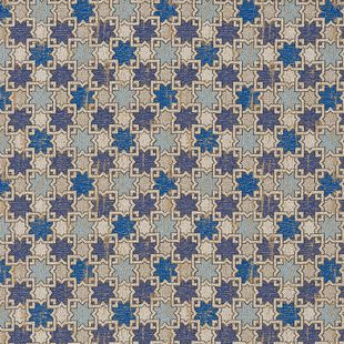 Photo of the fabric Hammam Sapphire swatch by Catherine Martin by Mokum. Use for Upholstery Medium Duty, Accessory. Style of Geometric, Pattern