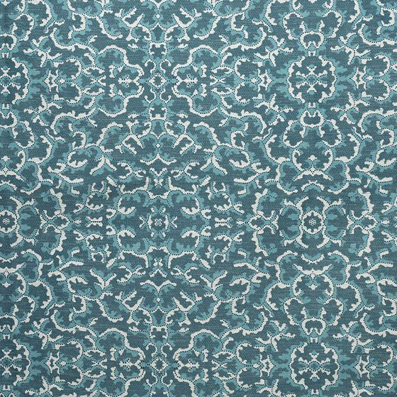 Photo of the fabric Coralline Aquamarine 402 swatch by Catherine Martin by Mokum. Use for Upholstery Heavy Duty, Accessory. Style of Abstract, Pattern