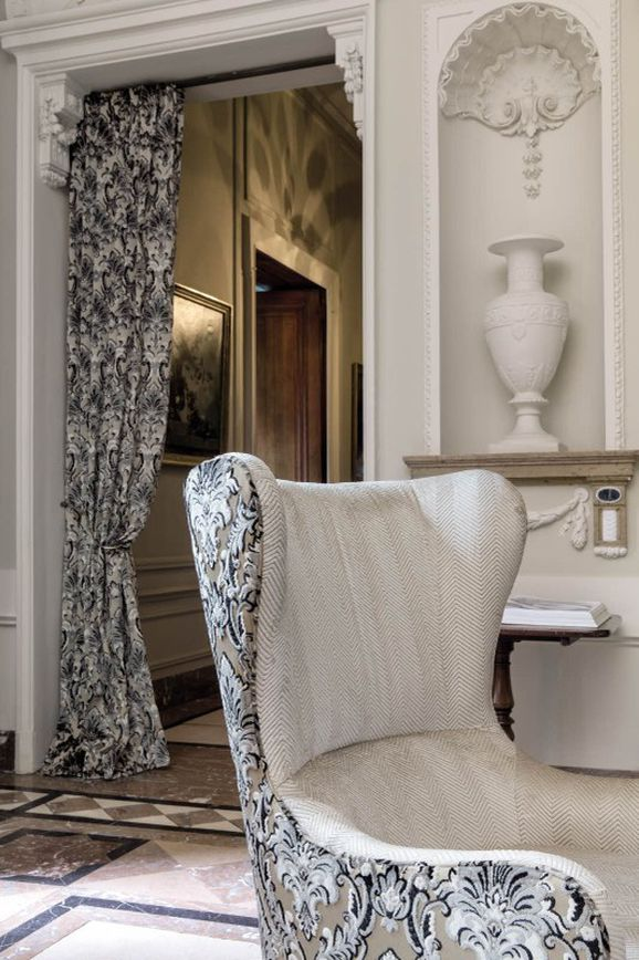 Photo of the fabric Zarzuela Kashmir in situ by Zepel. Use for Drapery, Upholstery Heavy Duty, Accessory, Top of Bed. Style of Damask, Pattern, Velvet
