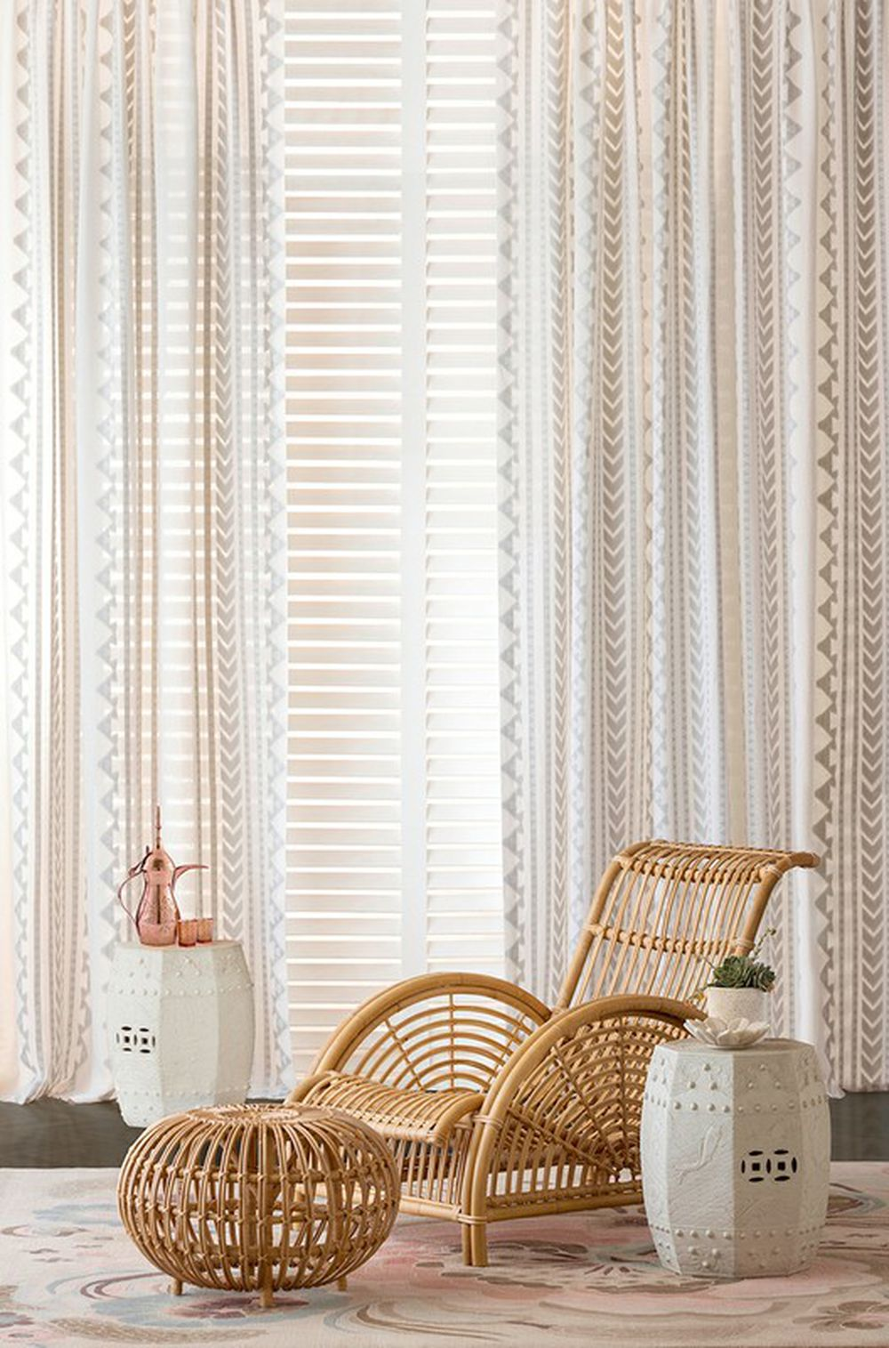 Photo of the fabric Aleuj Ivory in situ by Catherine Martin by Mokum. Use for Curtains. Style of Decorative, Geometric, Pattern, Stripe