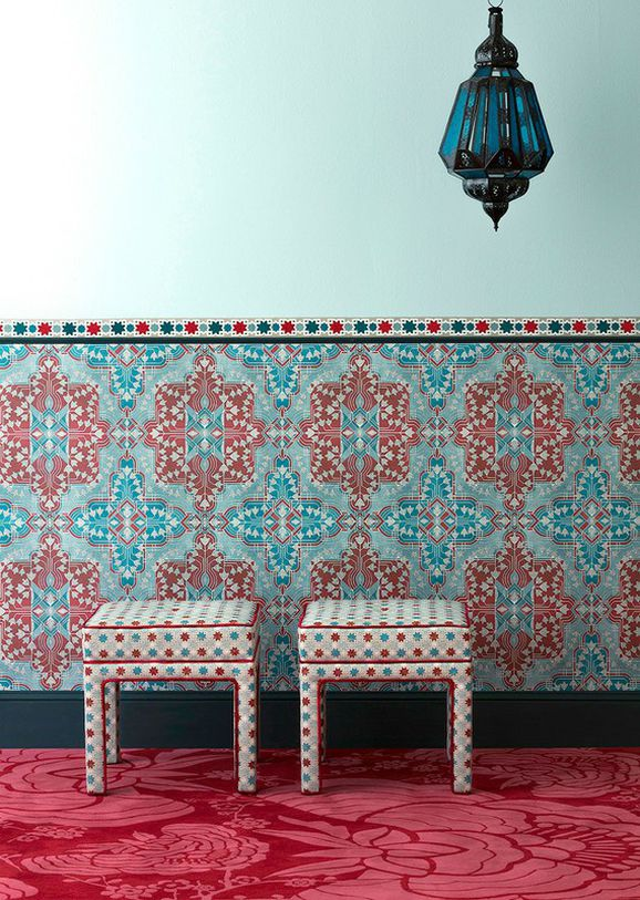 Photo of the fabric Hammam Sapphire in situ by Catherine Martin by Mokum. Use for Upholstery Medium Duty, Accessory. Style of Geometric, Pattern