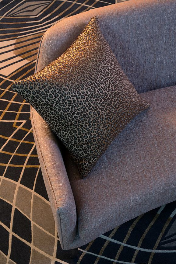 Photo of the fabric Medina Copper in situ by Catherine Martin by Mokum. Use for Upholstery Heavy Duty, Accessory. Style of Plain, Texture