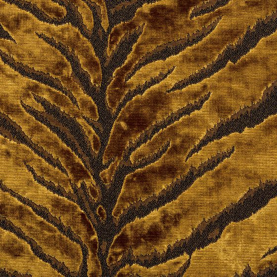 Photo of the fabric Bengal Tiger Gold swatch by Catherine Martin by Mokum. Use for Upholstery Heavy Duty, Accessory. Style of Abstract, Animals And Birds, Pattern