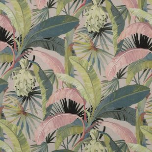 Photo of the fabric La Palma* Hollywood swatch by Catherine Martin by Mokum. Use for Drapery, Accessory. Style of Decorative, Floral And Botannical, Pattern, Print