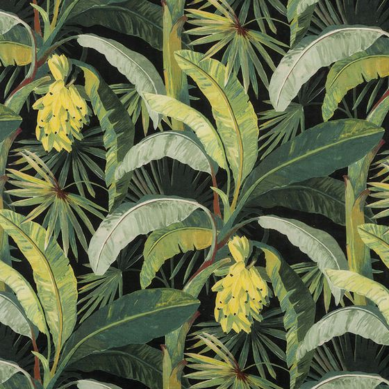 Photo of the fabric La Palma* Midnight swatch by Catherine Martin by Mokum. Use for Curtains, Accessory. Style of Decorative, Floral And Botannical, Pattern, Print