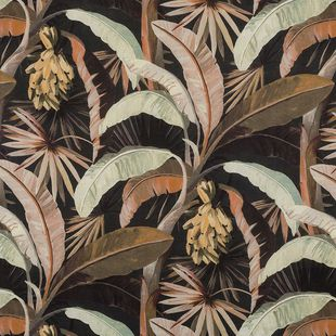 Photo of the fabric La Palma* Sepia swatch by Catherine Martin by Mokum. Use for Drapery, Accessory. Style of Decorative, Floral And Botannical, Pattern, Print