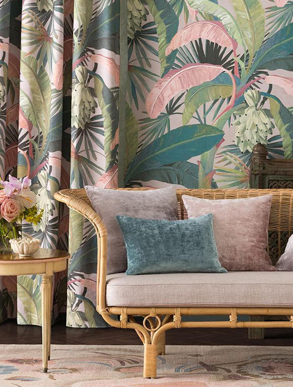 Photo of the fabric La Palma* Midnight in situ by Catherine Martin by Mokum. Use for Drapery, Accessory. Style of Decorative, Floral And Botannical, Pattern, Print