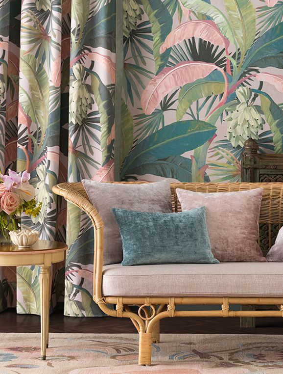 Photo of the fabric La Palma* Sepia in situ by Catherine Martin by Mokum. Use for Drapery, Accessory. Style of Decorative, Floral And Botannical, Pattern, Print