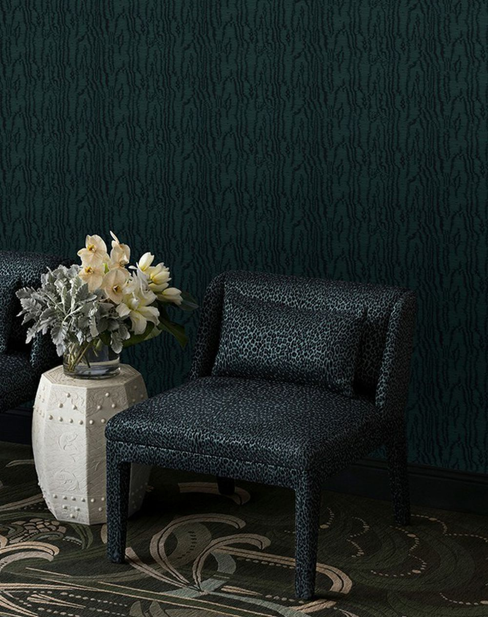 Photo of the fabric Trianon Wallpaper Emerald in situ by Catherine Martin by Mokum. Use for Wall Covering. Style of Abstract, Decorative, Pattern, Texture