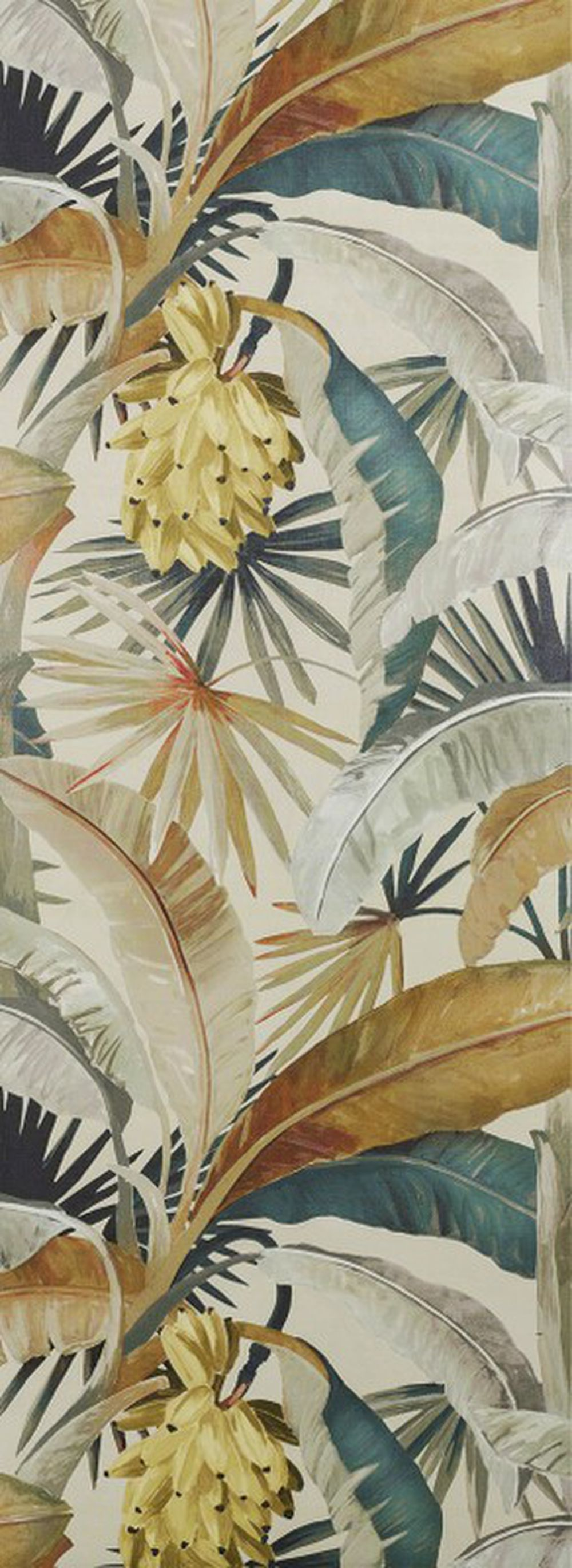 Photo of the fabric La Palma Wallpaper Gilver swatch by Catherine Martin by Mokum. Use for Wall Covering. Style of Decorative, Floral And Botannical, Pattern, Print
